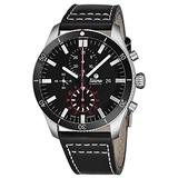 Tutima Grand Flieger Airport Chronograph Mens Automatic Watch - 43mm Black Face with Luminous Hands, Date and Sapphire Crystal - Stainless Steel Black Leather Band Watch Made in Germany 6401-01