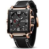 MEGIR Men's Analogue Army Military Chronograph Luminous Quartz Watch with Fashion Leather Strap for Sport & Business Work (2061 Rose/Black)