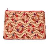 Cotton cosmetic bag, 'Awaiting the Sun'