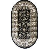 Traditional Oval Floral Oriental Doorway Mat Persian Area Rug Black Green Burgundy & Beige Design 601 (31 Inch X 4 Feet 11 Inch)