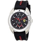 Scuderia Ferrari Men's Forza Stainless Steel Quartz Watch with Silicone Strap, Black, 22 (Model: 0830546)