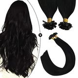 Ugeat Nail Tip Fusion Human Hair Extensions 20 Inch Black Color Hair Extensions Amazing Beauty Hair Extensions Hot Fusion Hair Extensions Human Hair #1 1g/1strand 50G