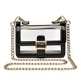 Blue Heaven Clear Boxy Shoulder Bag Chain Strap Crossbody Purse - Stadium/Concert Venues Approved, Black, Small