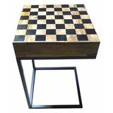 """UrbanDesign 16"""" Manhattan Chess Table Solid Wood/Metal in Brown, Size 27.0 H x 16.0 W x 16.0 D in 