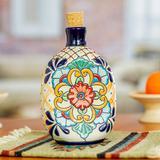 Ceramic tequila decanter, 'Floral Festivities'