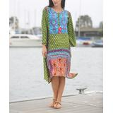Ananda's Collection Women's Casual Dresses Green/turquoise - Green & Turquoise Abstract Long-Sleeve Shift Dress - Women & Plus