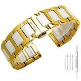 Mens Watch Bands Gold, White Ceramic Watch Strap - 22mm Watch Band - Stainless Steel Bracelet Watch Men - Deployment Clasp