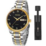 Mens Watches with Day and Date,Mens Dress Wrist Watch Casual Classic Stainless Steel Quartz Watch,Roman Numeral Watches for Men Black Calendar Wristwatch for Man,Mens Luminous Watch,Black Dial Watch