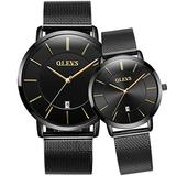 His & Hers Watches Couple Watch for Men Women Matching Wristwatch Pair Analog Quartz Date Waterproof Anniversary Watches Gifts Set (Black Band Black dial & Black Band Black dial & Date Window)