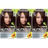 Garnier Hair Color Nutrisse Ultra Coverage Nourishing Hair Color Creme, Deep Dark Brown (Sweet Pecan) 400, 3 pack, Pack of 3