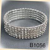 5 Row Rhodium Silver Paved Clear Rhinestones Stretchable Bangle Fashion Jewelry Bracelet For Women