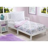 Delta Children Toddler Bedding Set | Girls 4 Piece Collection | Fitted Sheet, Flat Top Sheet w/Elastic Bottom, Fitted Comforter w/Elastic Bottom, Pillowcase, Bohemian | Pink/Multi