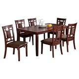 Benjara Benzara Wooden Dining Table and Chair Set, Pack of Seven, Brown,