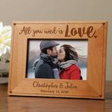 Winston Porter Sheffer All You Need is Love Personalized Picture Frame Wood in Brown, Size 6.75 H x 8.75 W x 0.5 D in | Wayfair