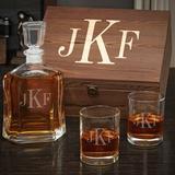 Charlton Home® Senter Monogram Personalized 3 Piece Whiskey Decanter Set Glass, Size 11.5 H x 9.0 W in | Wayfair 83352FF3722748CF93814001489F8E88