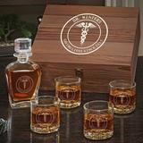 Charlton Home® Ginnifer Medical Arts Personalized 5 Piece Whiskey Decanter Set Glass, Size 12.5 H x 11.0 W in | Wayfair