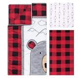 Harriet Bee Lakeport Peak-a-Bear 3 Piece Crib Bedding Set Polyester/Cotton in Black/White, Size 45.0 W in   Wayfair
