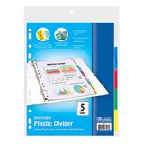 Bazic Products Folders - Five-Tab Three-Ring Binder Divider Pack - Set of Six