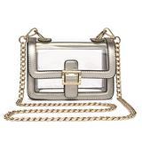 Clear Boxy Shoulder Bag Chain Strap Crossbody Purse, Silver, Size Small