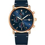 Stuhrling Original Chronograph Mens Watch Leather Watch Band Silver Dial with Date Minimalist Style 38mm Case - 3903 Watches for Men Collection (Blue/Rose Gold)