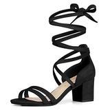 Allegra K Women's Open Toe Lace Up Color Block Heel Black Sandals - 9 M US