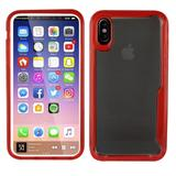 Acrylic Hard Cover TPU Bumper Hybrid Case, Red/Clear for iPhone X