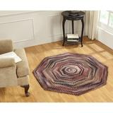 August Grove® Octagon Putney Ombre Braided Cotton Burgundy Area Rug Cotton in Red, Size 48.0 H x 48.0 W x 0.5 D in | Wayfair