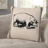 Gracie Oaks Whitnash Pig Feed Sack Cotton Throw Pillow Polyester/Polyfill/Cotton in Black, Size 20.0 H x 20.0 W x 5.0 D in | Wayfair