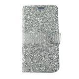 Samsung Galaxy J3 Achieve Full Diamond Mobile Phone Wallet Case with Credit Card Pockets, Silver