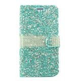 Samsung Galaxy J3 Star Full Diamond Mobile Phone Wallet Case with Credit Card Pockets, Light Blue