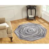 August Grove® Roswell Ombre Braided Cotton Black Area Rug Cotton in Indigo, Size 48.0 H x 48.0 W x 0.5 D in | Wayfair