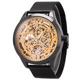 ManChDa Mens Skeleton Mechanical Watch - Automatic Mesh Stainless Steel Band Luxury Business Casual Analog Watch