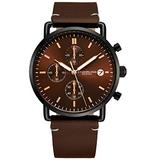 Stuhrling Original Chronograph Mens Watch Leather Watch Band Silver Dial with Date Minimalist Style 38mm Case - 3903 Watches for Men Collection (Brown/Brown)