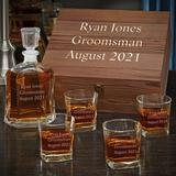 Charlton Home® Stallman Personalized 5 Piece Whiskey Decanter Set Glass in Brown, Size 13.0 H x 12.0 W in | Wayfair