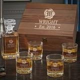 Charlton Home® Stanberry Wax Seal Personalized 5 Piece Whiskey Decanter Set Glass in Brown, Size 13.0 H x 12.0 W in | Wayfair
