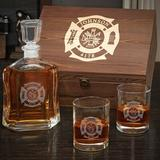 Charlton Home® Stalter Fire & Rescue Personalized 3 Piece Whiskey Decanter Set Glass in Brown, Size 12.0 H x 10.0 W in | Wayfair
