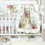 Brandream Baby Crib Bedding Sets for Girls Ruffled Rose Floral Baby Bedding Crib Sets Chic Vintage Nursery Bedding 100% Soft Cotton