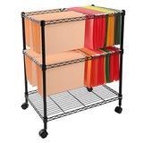 SSLine Mobile File Cart for Letter Legal Size Folder 2 Tier Rolling File Cart on Wheels Portable Wire Metal File Storage Shelf Organizer - Black
