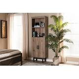 Baxton Studio Arend Modern & Contemporary Two-Tone Oak & Ebony Wood 2-Door Bookcase - MH1193-Safari Oak/Ebony-Bookcase