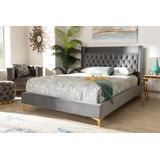 Baxton Studio Valery Modern Dark Gray Velvet Fabric Queen Size Platform Bed w/ Gold-Finished Legs - BBT6740-Dark Grey-Queen