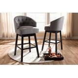 Baxton Studio Theron Transitional Gray Fabric Upholstered Wood Swivel Bar Stool Set - BBT5210B-Grey-BS