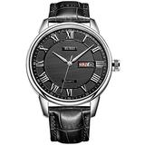 BUREI Men Watch Business Casual Gent's Wristwatch Analog Quartz Date Display with Black Dila Black Genuine Leather Strap