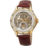 Father's Day Gift - Akribos XXIV Designer Skeleton Men's Watch – Brown Leather Embossed Crocodile Strap - Automatic Mechanical Wristwatch with See Through Dial – AK1066YGBR