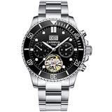 PASOY Mens Automatic Watch Luminous Dial Sapphire Tourbillon Date Military Mechanical Waterproof Watches for Men(Black dial)