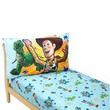 Disney Toy Story Power Up 2 Piece Toddler Bedding Set Cotton Blend in Blue/Green/Red | Wayfair 8006396