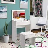 Makeup Vanity Table Set with A Flip-up Mirror Top, A Partitioned Storage Compartment and Cushioned Stool, Graceful Bedroom Furniture for Ladies (White)