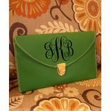 Designs by Two Greek Sisters Women's Handbags kelly - Kelly Green Monogram Leather Envelope Clutch