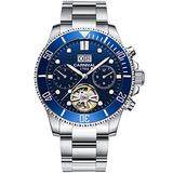 PASOY Mens Automatic Watch Luminous Dial Sapphire Tourbillon Date Military Mechanical Waterproof Watches for Men(Blue dial)