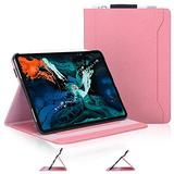 Skycase iPad Pro 11 Case (2018), [Support Apple Pencil Charging] Auto Dormancy Canvas Multi-Angle Viewing Stand Folio Case for Apple iPad Pro 11 inch 2018 Release Version, with Card Holders, Pink