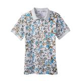 Haband Womens Essential Polo Tee, Solid & Print, Khaki Floral, Size S